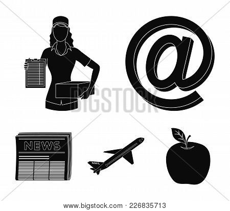 Email Symbol, Courier With Parcel, Postal Airplane, Pack Of Newspapers.mail And Postman Set Collecti