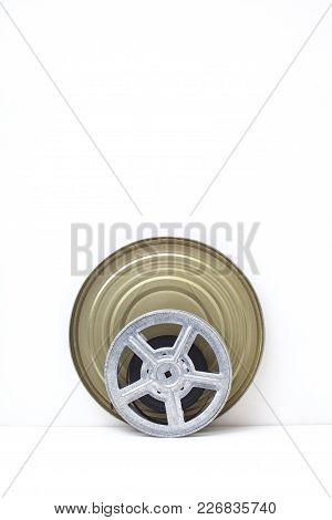 Movie Old Film 8mm Reel On White Background