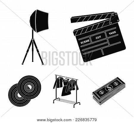 Movies, Discs And Other Equipment For The Cinema. Making Movies Set Collection Icons In Black Style