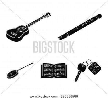 Musical Instrument Black Icons In Set Collection For Design. String And Wind Instrument Isometric Ve