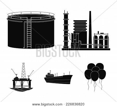Oil Refinery, Tank, Tanker, Tower. Oil Set Collection Icons In Black Style Vector Symbol Stock Illus
