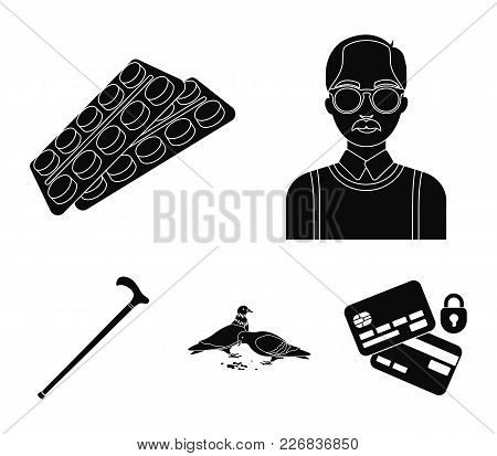 Elderly Men, Tablets, Pigeons, Walking Cane.old Age Set Collection Icons In Black Style Vector Symbo