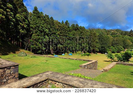 Camping of Sete Citades in Sao Miguel Island of Azores Portugal