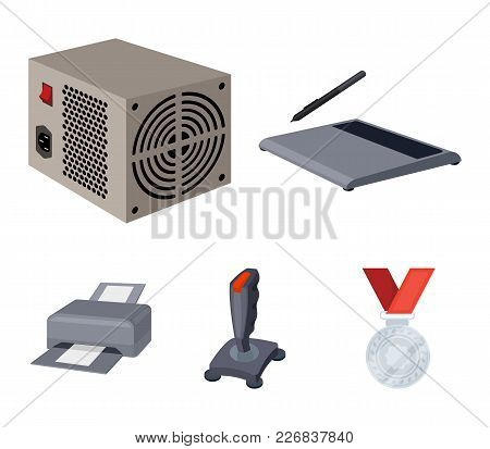 Power Unit, Dzhostik And Other Equipment. Personal Computer Set Collection Icons In Cartoon Style Ve