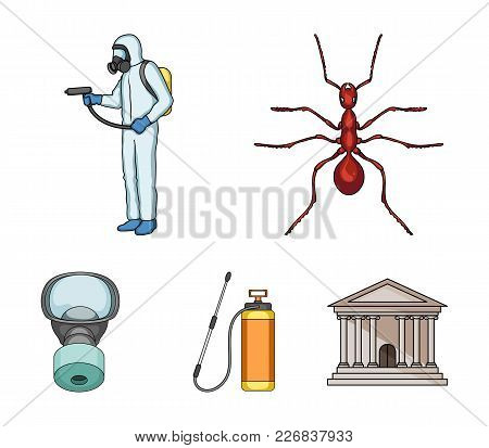 Ant, Staff In Overalls And Equipment Cartoon Icons In Set Collection For Design. Pest Control Servic