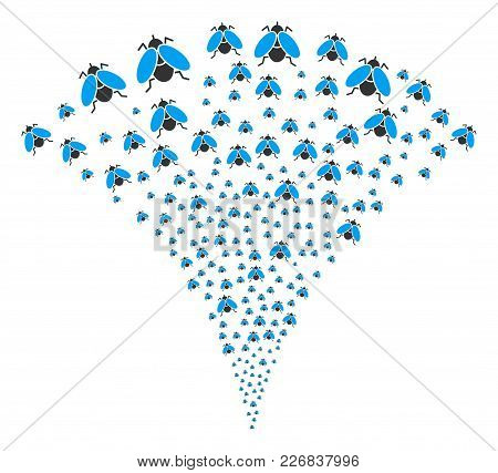 Fly Insect Festive Fountain. Vector Illustration Style Is Flat Iconic Symbols. Object Fountain Const