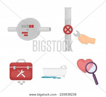 Water Meter, Bath And Other Equipment.plumbing Set Collection Icons In Cartoon Style Vector Symbol S