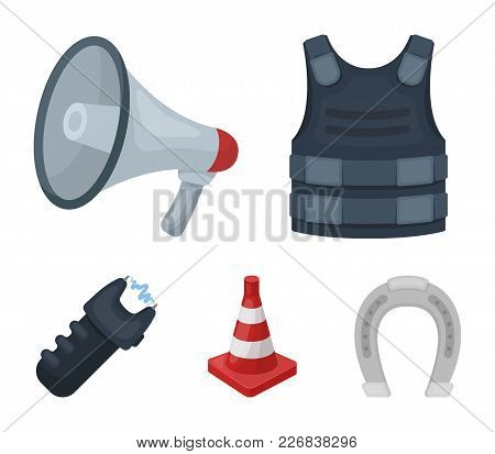 Bulletproof Vest, Megaphone, Cone Of Fencing, Electric Shock. Police Set Collection Icons In Cartoon