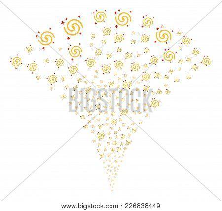 Galaxy Burst Fountain. Vector Illustration Style Is Flat Iconic Symbols. Object Fountain Organized F