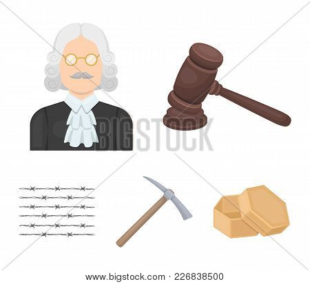 Judge, Wooden Hammer, Barbed Wire, Pickaxe. Prison Set Collection Icons In Cartoon Style Vector Symb