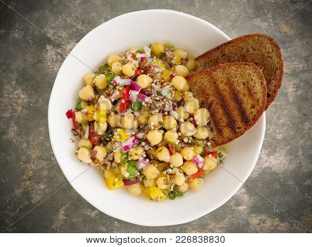 Vegan Quinoa Salad With Chickpeas With Fresh Herbs