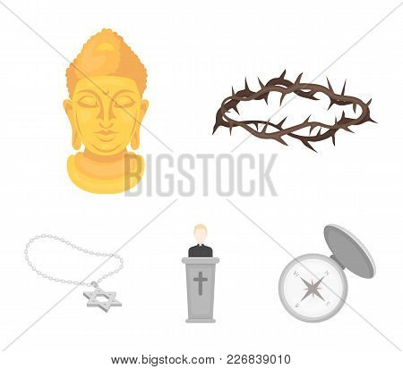 A Crown Of Thorns, A Star Of David, A Priest, A Buddha's Head. Religion Set Collection Icons In Cart