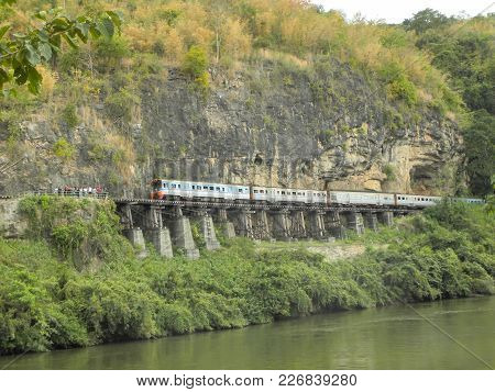 Kanchanaburi, Thailand - December 2, 2017 - The Death Railway At The River Kwai Of The Thailand-burm
