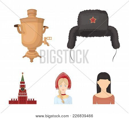 Clothes, Woman, Kremlin, Building .russia Country Set Collection Icons In Cartoon Style Vector Symbo