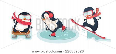 Leisure Activities In Winter. Winter Sports Illustration. Active Penguins Set