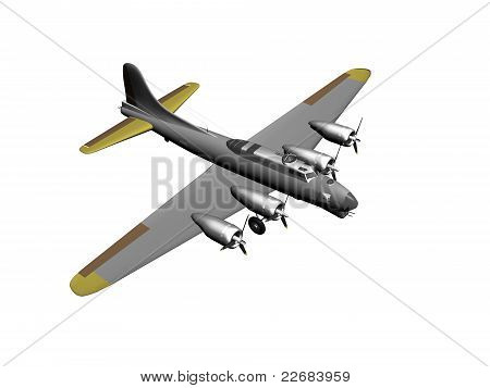 A Bombing plane on a white background poster