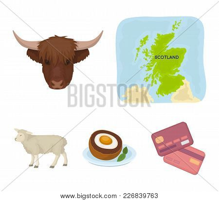 Territory On The Map, Bull's Head, Cow, Eggs. Scotland Country Set Collection Icons In Cartoon Style