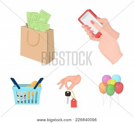 Mobile Phone, A Package With Money And Other  Icon In Cartoon Style. A Key In Hand, A Basket With Fo