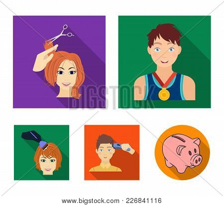 Athlete With A Medal, A Haircut With An Electric Typewriter And Other Web Icon In Flat Style. Women'