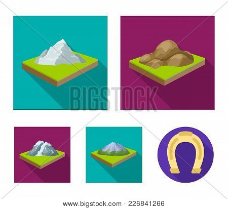 Mountains, Rocks And Landscape. Relief And Mountains Set Collection Icons In Flat Style Isometric Ve