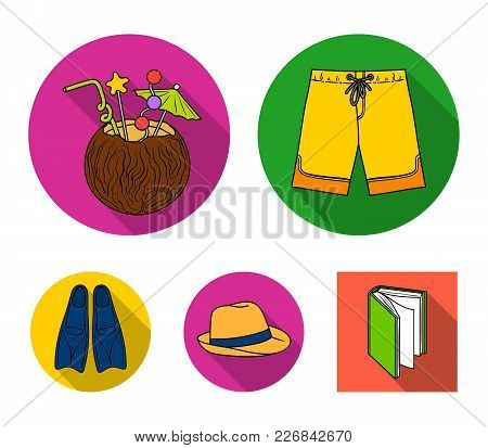 Swimming Trunks, Cocktail With Coconut, Panama And Flippers. Surfing Set Collection Icons In Flat St