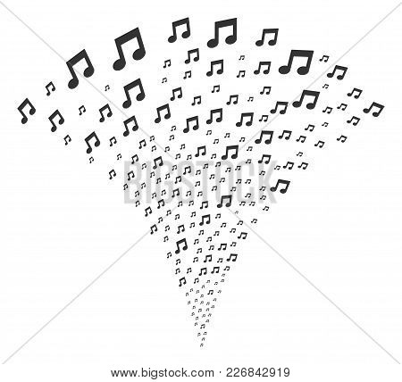 Music Notes Exploding Fountain. Vector Illustration Style Is Flat Iconic Symbols. Object Fountain Cr
