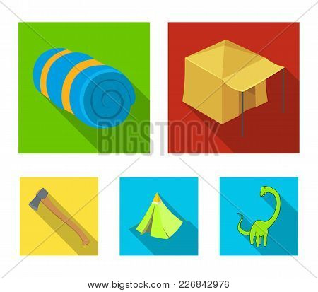Tent With Awning, Ax And Other Accessories.tent Set Collection Icons In Flat Style Vector Symbol Sto