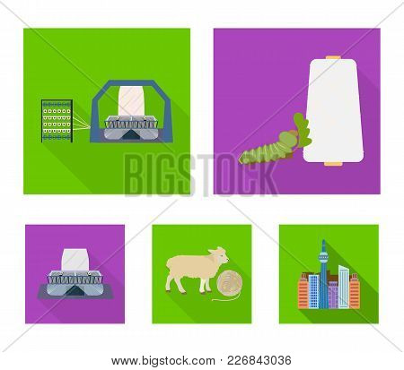 Cotton, Coil, Thread, Pest, And Other  Icon In Flat Style. Textiles, Industry, Gear Icons In Set Col