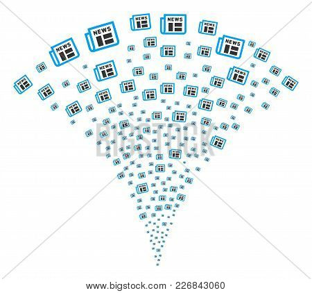 Newspaper Fireworks Fountain. Vector Illustration Style Is Flat Iconic Symbols. Object Fountain Comb