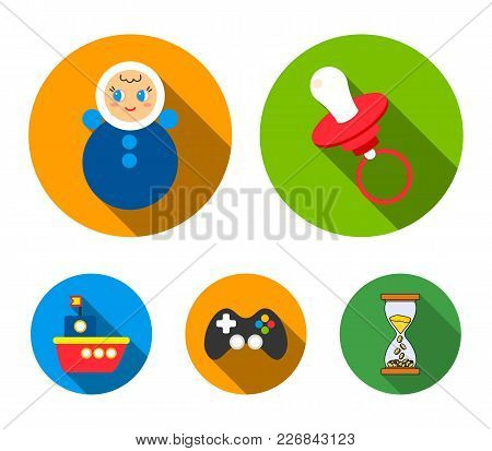 Nipple, Doll Tumbler, Joystick, Ship.toys Set Collection Icons In Flat Style Vector Symbol Stock Ill