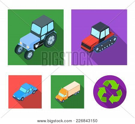 Tractor, Caterpillar Tractor, Truck, Car. Transport Set Collection Icons In Flat Style Vector Symbol