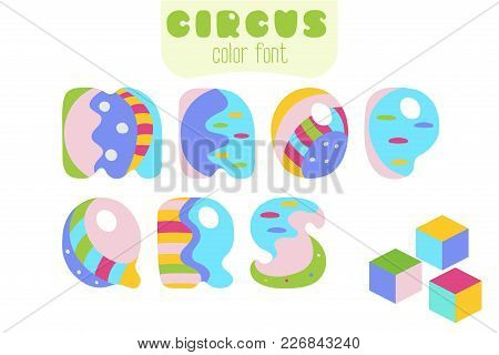 Funny Cartoon Style Colorful Uppercase Vector Alphabet. Font Set With Letters M, N, O, P, Q, R, S An