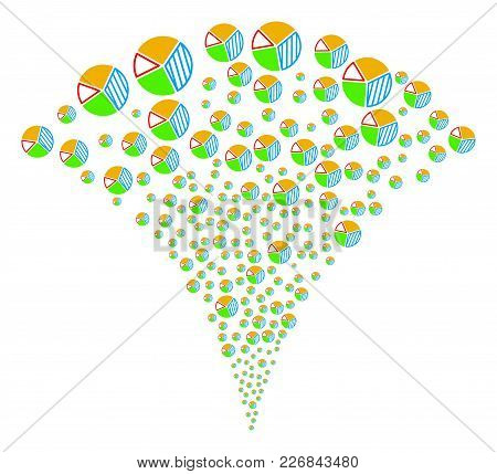Pie Chart Burst Fountain. Vector Illustration Style Is Flat Iconic Symbols. Object Fountain Organize