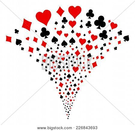 Playing Card Suits Burst Fountain. Vector Illustration Style Is Flat Iconic Symbols. Object Fountain