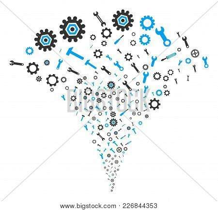 Repair Instruments Burst Fountain. Vector Illustration Style Is Flat Iconic Symbols. Object Fountain