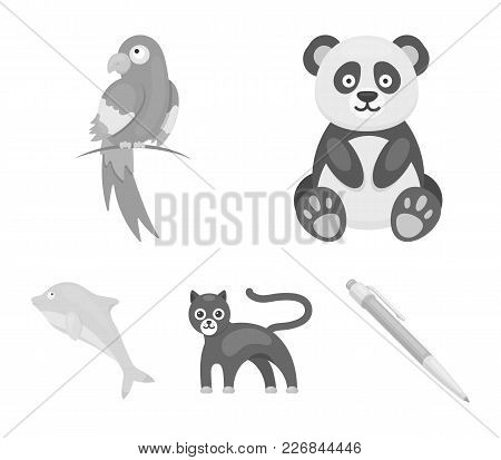 Panda.popugay, Panther, Dolphin.animal Set Collection Icons In Monochrome Style Vector Symbol Stock