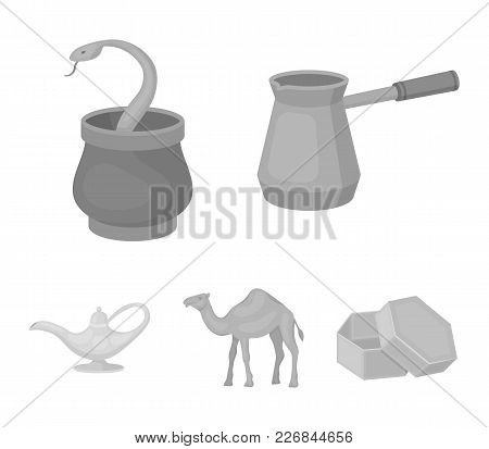 Cezve, Oil Lamp, Camel, Snake In The Basket.arab Emirates Set Collection Icons In Monochrome Style V
