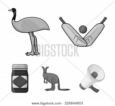A Game Of Cricket, An Emu Ostrich, A Kangaroo, A Popular Food.australia Set Collection Icons In Mono