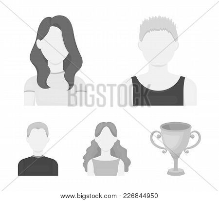 Girl With Long Hair, Blond, Curly, Gray-haired Man.avatar Set Collection Icons In Monochrome Style V