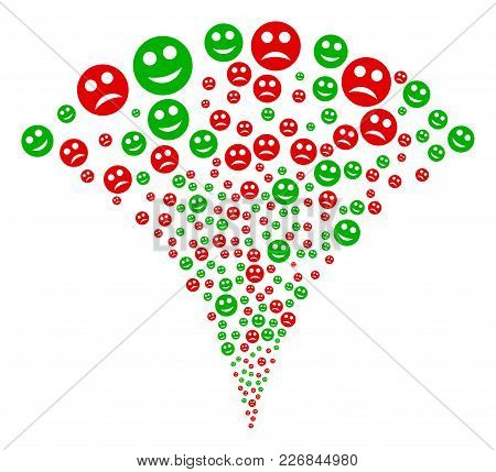 Sad And Glad Smiley Fireworks Fountain. Vector Illustration Style Is Flat Iconic Symbols. Object Fou