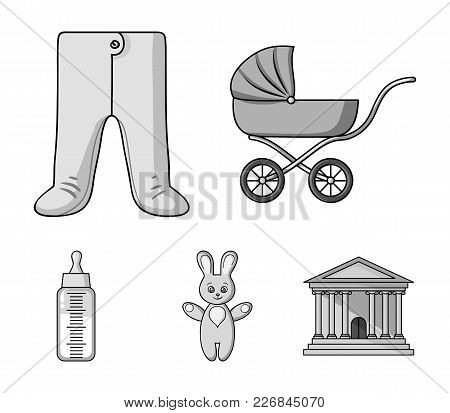 Stroller, Bottle With A Pacifier, Toy, Sliders.baby Born Set Collection Icons In Monochrome Style Ve