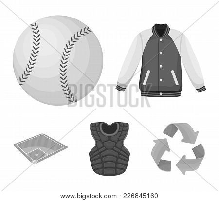 Playground, Jacket, Ball, Protective Vest. Baseball Set Collection Icons In Monochrome Style Vector