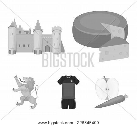 Cheese, Lion And Other Symbols Of The Country.belgium Set Collection Icons In Monochrome Style Vecto
