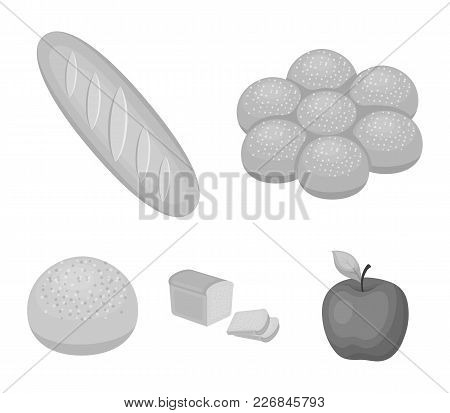 Cut Loaf, Bread Roll With Powder, Half Of Bread, Baking.bread Set Collection Icons In Monochrome Sty