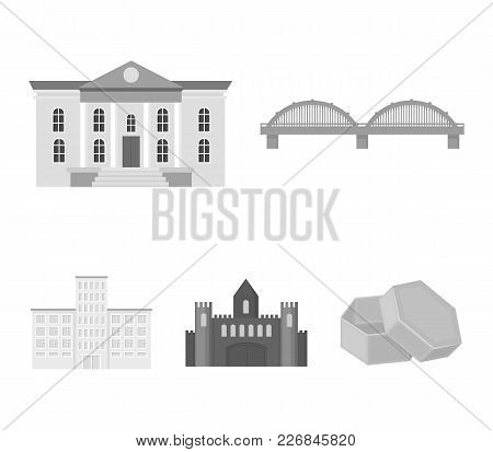 Museum, Bridge, Castle, Hospital.building Set Collection Icons In Monochrome Style Vector Symbol Sto