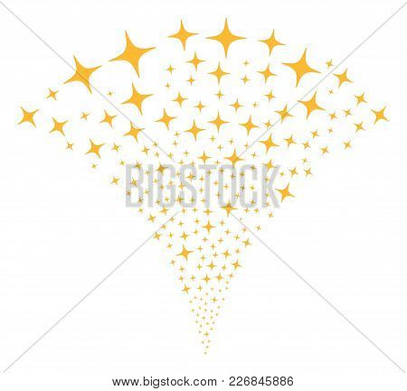 Space Star Exploding Fountain. Vector Illustration Style Is Flat Iconic Symbols. Object Fountain Org