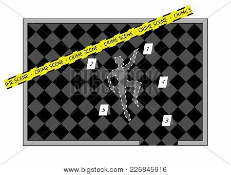 A Body Outline With Crime Scene Tape And Numbers, Vector Isolated Or White Background