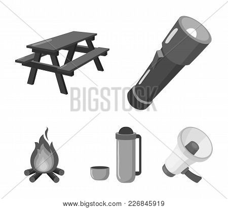 A Flashlight, A Table With A Bench, A Thermos With A Cup, A Caster. Camping Set Collection Icons In