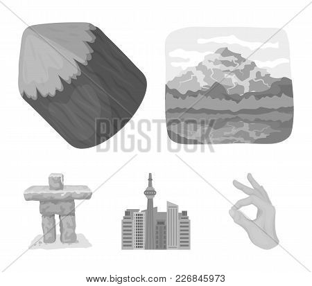 Lakes, Mountains, The Tower Of Si-en And Other Symbols Of Canada.canada Set Collection Icons In Mono