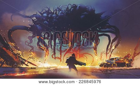 Fight Scene Between The Human And Giant Monster, The Man Battling Alien At Night, Digital Art Style,